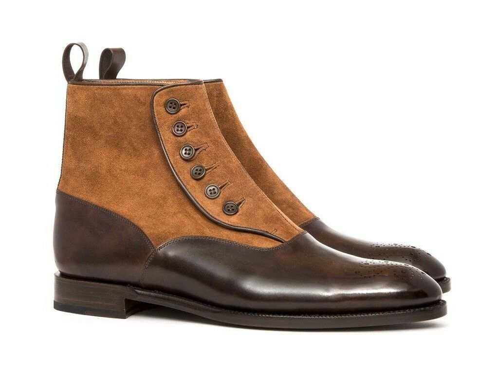 Handmade Uomo Brown Formal Boot, Uomo Pelle Button Boot Pelle Uomo and Suede Ankle Boot 251125