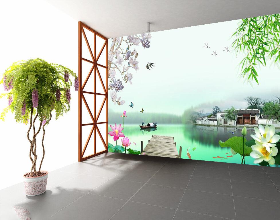 3D Village River Plants 675 Wall Paper Wall Print Decal Wall AJ WALLPAPER CA