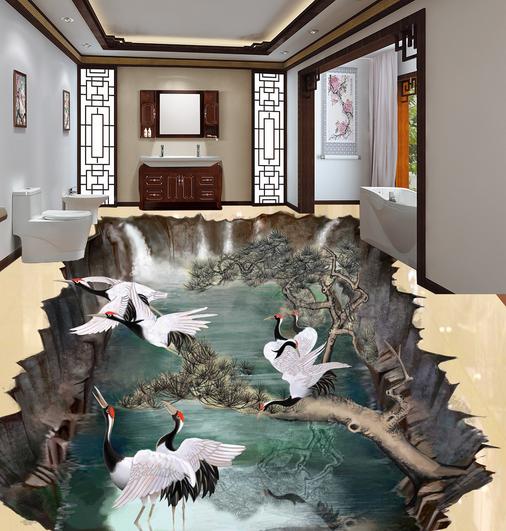 3D Weiß Crane Forest 7844 Floor WallPaper Murals Wall Print Decal 5D AU Lemon