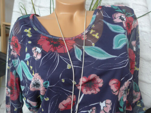 Sheego Damen Bluse Tunika Chiffon Gr 40 bis 58 blau gemustert Lagen Look 018