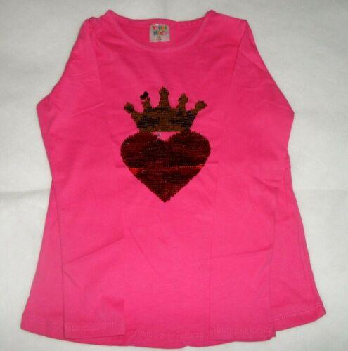 Crown /& Heart Sequin Long Sleeve Top Girls 9-12 Years Kids Children 4 Colours