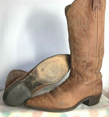 Cowboy Boots Men's 8 M Dan Post Marlboro Leather Vintage P2552 Made In The USA | eBay