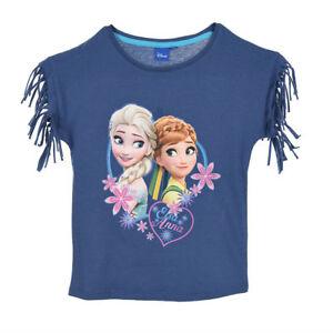 DISNEY-t-shirt-LA-REINE-DES-NEIGES-4-5-6-ou-8-ans-bleu-franges-epaules-NEUF