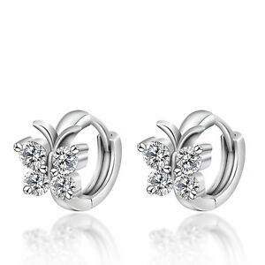 Fashion-Women-Girls-Crystal-Silver-Plated-Butterfly-Ear-Hoop-Earrings-Jewelry