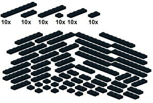 Lego-Bricksy-039-s-Bascis-Black-B44-Platten-schwarz-schmal