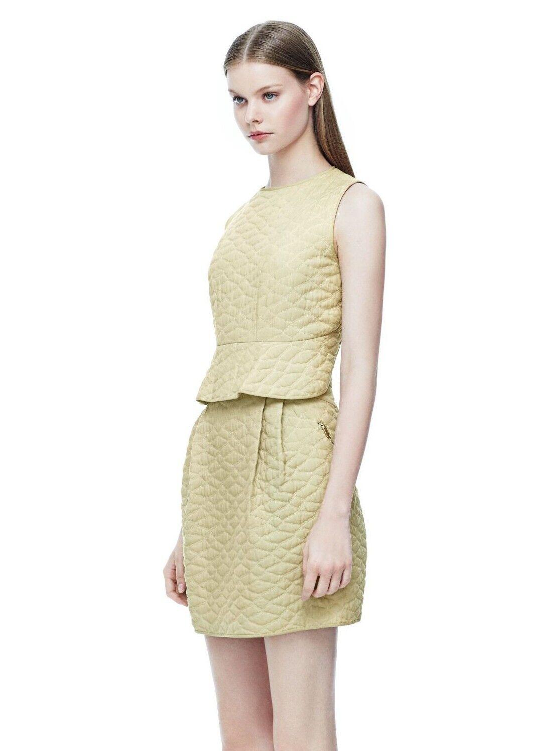 Theyskens' Theory Silk Blend Green 'Dasta' Quilted Peplum Dress Sz 2 New