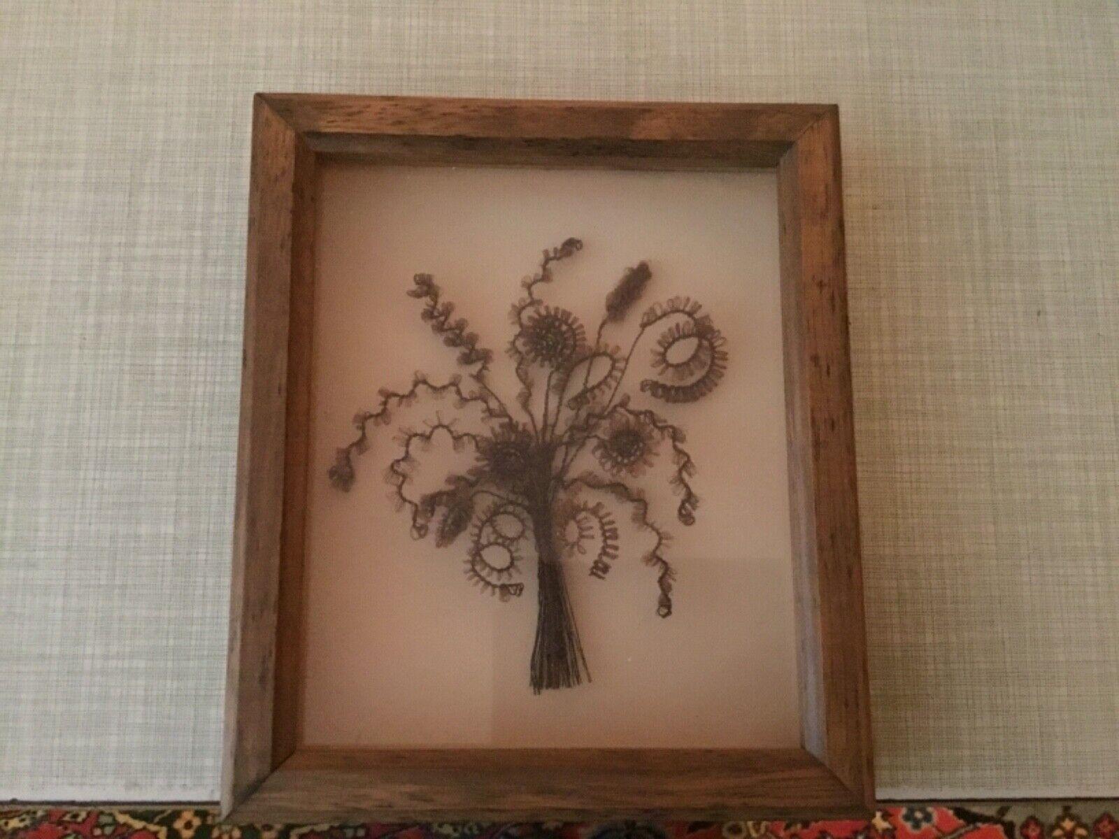 Haarbild Antik, Handarbeit hinter Glas, Biedermeier Stil