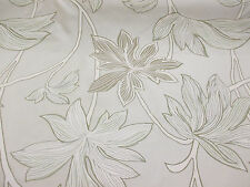 """Parchment"" Shade (2) & Leaves, Floral, Printed Taffeta Curtain Fabric"