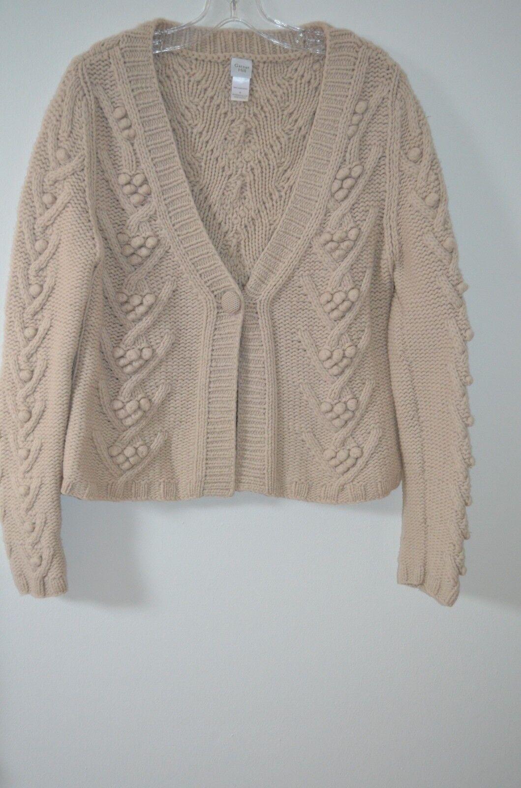 Garnet Hill Beige Chunky 100% Lambswool Popcorn Stitch Cardigan Sweater Size M