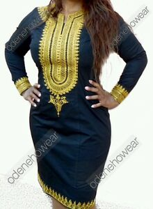 Odeneho Wear Ladies Black Polished Cotton Dress/ Embroidery.Afr<wbr/>ican Clothing.