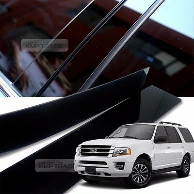 Glossy Black B C Pillar Post UV Coating Cover 6Pcs For FORD 2007-2016 Expedition