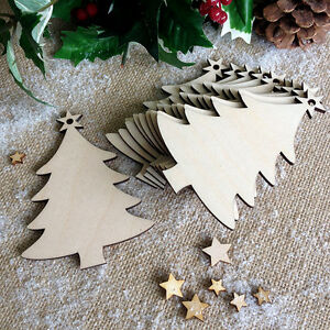 Wooden-CHRISTMAS-TREE-Birch-Decoration-Tag-Shapes-Art-Craft-Embellishment-x10