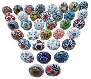 20-Mix-Vintage-Look-Flower-Ceramic-Knobs-Door-Handle-Cabinet-Drawer-Cupboard