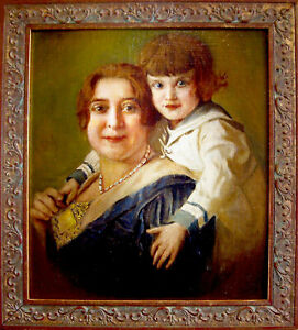 Framed-Original-Oil-Portrait-of-MOTHER-amp-SON-New-Immigrants-to-US-Circa-1900
