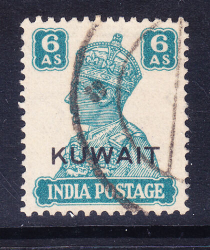 KUWAIT George VI 1945 SG60a 6as of India overprinted fine used. Catalogue 24