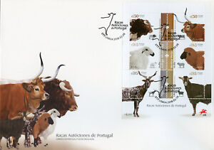 Portugal-2018-FDC-Portuguese-Breeds-Cows-Sheep-6v-M-S-Cover-Farm-Animals-Stamps