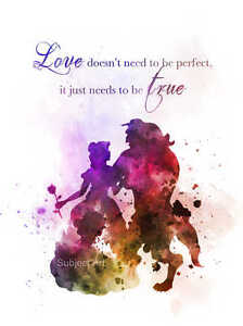 Art Print Beauty And The Beast Quote Illustration Disney Princess