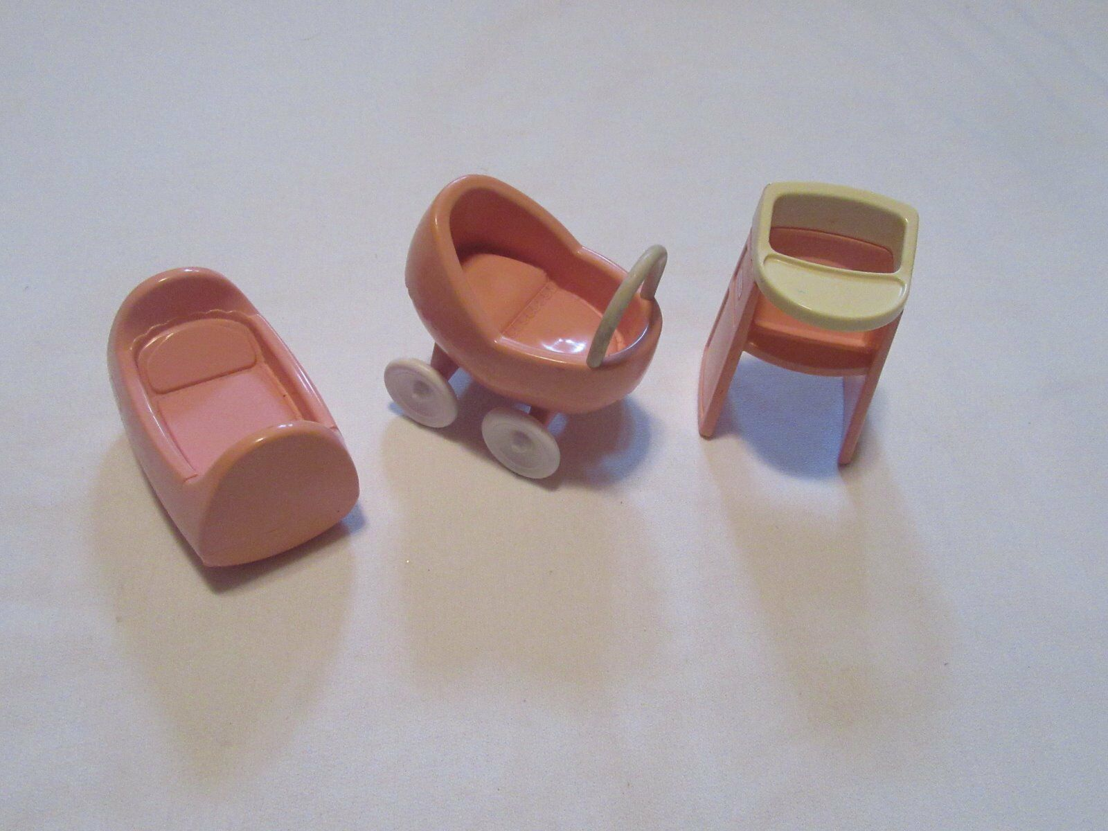 Little Tikes Dollhouse Size Carriage, High Chair & Cradle  Baby Set  RARE