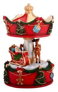 MUSICAL-CHRISTMAS-CAROUSEL-Wind-Up-Keepsake-santa-reindeer-sleigh