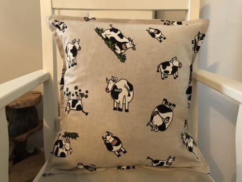 "Handmade Cute Linen Look Cow Print Envelope Back Cushion Cover 17"" X 17"""