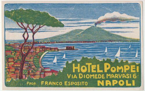 1930/'s Hotel Pompei Naples Italy Luggage Label MINT