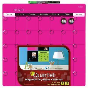 Quartet Dry-Erase Calendar 14 x 14 Inches Neon Pink 1-Month Design 4 Packs