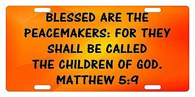 Matthew 5 9 Verse Custom License Plate Bible Christian