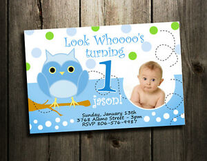 Image Is Loading OWL BIRTHDAY PARTY INVITATION CUSTOM 1ST BABY SHOWER