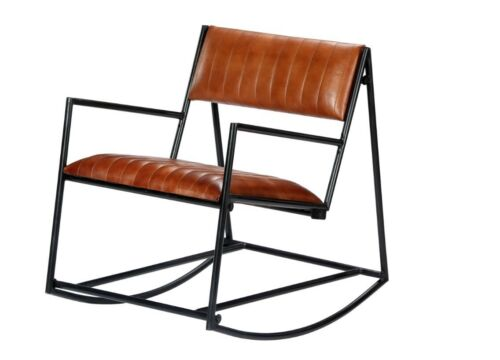 Industrial Metal Rocking Chair Vintage Brown Relax Chair Lounge Leather Seater