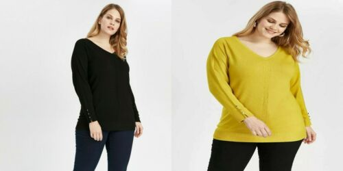 Evans NEW Ladies Black Lime Yellow V Neck Long Sleeve Knit Jumper Size 14-24