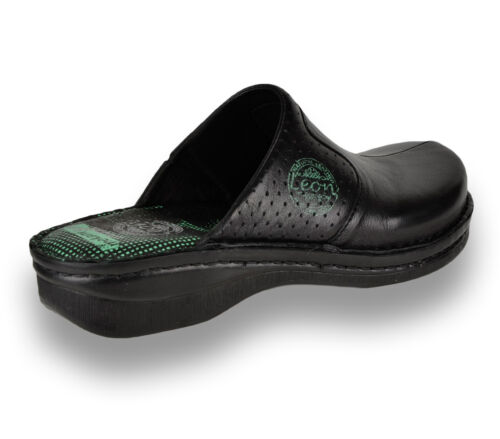 LEON 360 Ladies Women Leather Slip On Mules Clogs Slippers Sandals Black New UK