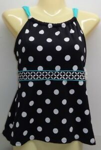 dd98f53a13 Beach House Size 6 BLAIR HI NECK TANKINI Black Polka Dot New Womens ...