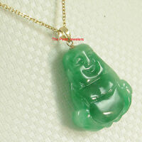 TPJ 14k Yellow Gold Hand Carving 2 Sides Green Jade Buddha Pendant Necklace