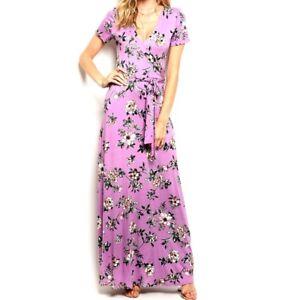 Womens-Lavender-Watercolor-Floral-Faux-Wrap-Casual-Maxi-Dress-S-M-L