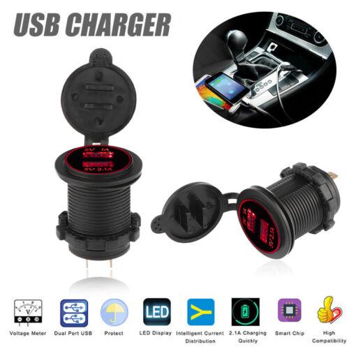 Fast Charge 2 USB Auto Steckdose KFZ Ladegerät Einbau Buchse 12V//24V Wasserdicht