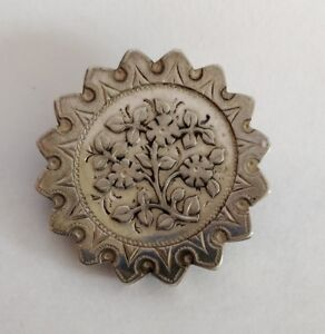 Antique-Victorian-aesthetic-movement-silver-brooch-Birmingham-1888