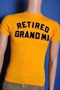 Vintage-039-80s-Retired-Grandma-velvet-letters-soft-gold-t-shirt-XXS