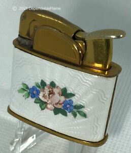 ✌️Vintage Evans Lady Lighter Floral Pattern Celluloid Wrap Ladies Fantail✌️