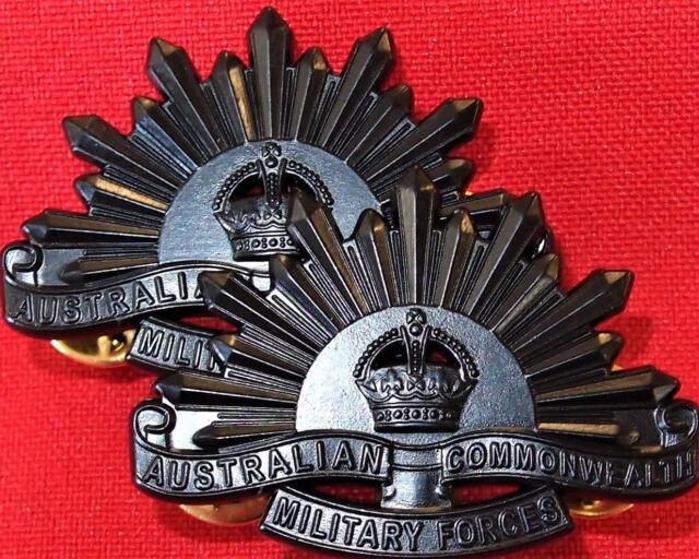 *AUSTRALIAN ANZAC WW1 & WW2 RISING SUN UNIFORM COLLAR BADGES MEDAL REPLICA BLACK