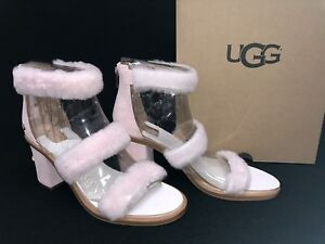 c6e8c1d9c53 Details about Ugg Australia Del Rey Fluff Heel Seashell Pink 1095489  Women's Strappy Sexy