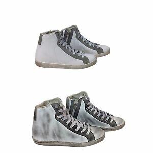 Dettagli su scarpe sneakers alte uomo pelle bianco grigio sfumato Via Condotti made in italy