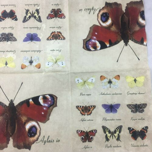 5 x Paper party Napkins for Decoupage Butterflies variety pack of Five