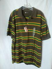 GAP Brown Stripe Classic Fit Stain Resistant Cotton Pique S/S Polo Shirt NWT XL