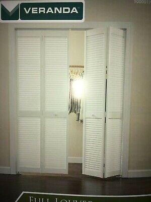 """Veranda 36 in x 80 in 36/""""x80/"""" Real Wood White Full Louver 2 Door Bi-Fold Door"""
