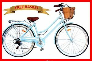 BRAND-NEW-VINTAGE-RETRO-LADIES-BEACH-CRUISER-BICYCLE-BIKE-BASKET-6-SPEED-BLUE