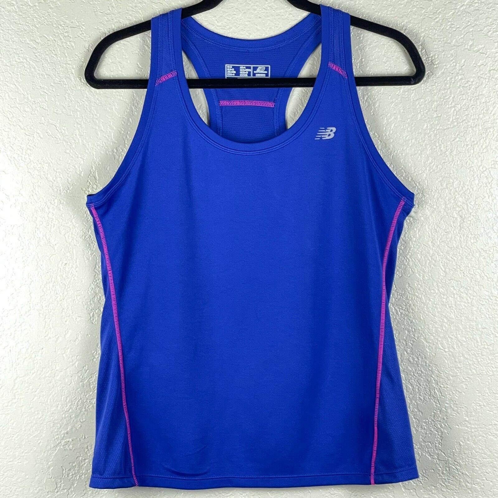 New Balance Women's Athletic Racerback Tank Top Blue Sz M LightningDry