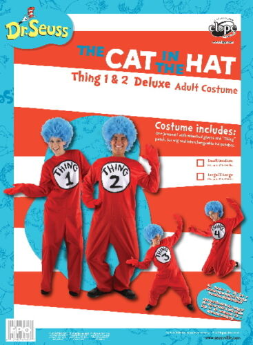 Seuss The Cat In The Hat Things Deluxe Adult Costume Kit Large//XL NEW SEALED Dr