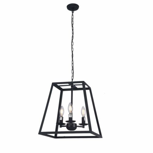"""14/"""" Modern Black Metal Square Cage 3-Bulbs Ceiling Cage Chandelier Light Dining"""