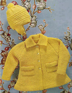 74332cd55 Knitting Pattern-Baby coat   hat-knitted in DK or 4ply- fits 22-24 ...