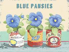Blue Pansies, Vintage Flower Home Garden Kitchen Bathroom, Mini Metal/Tin Sign